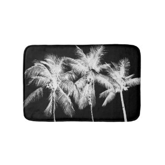 Black and white palm tree tropical summer florida bath mats
