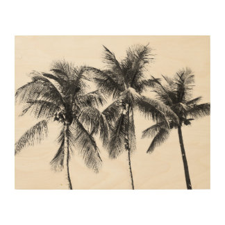 Black and white palm tree tropical wood print