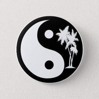 Black and White Palm Tree Yin Yang Button