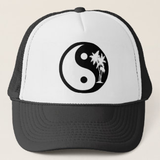 Black and White Palm Tree Yin Yang Hat