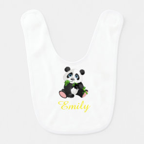 Black and White Panda Bear Eating Green Bamboo Bib