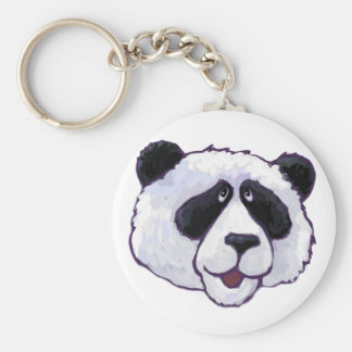 Black and White Panda Bear Head Basic Round Button Key Ring