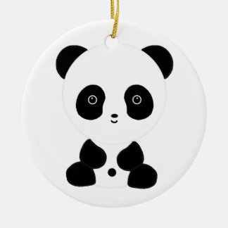Black and White Panda Bear Round Ceramic Decoration