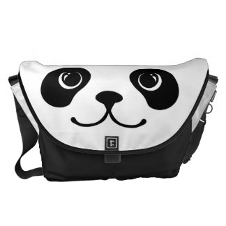 Black And White Panda Cute Animal Face Design Messenger Bag