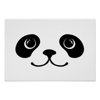 Black And White Panda Cute Animal Face Design Poster