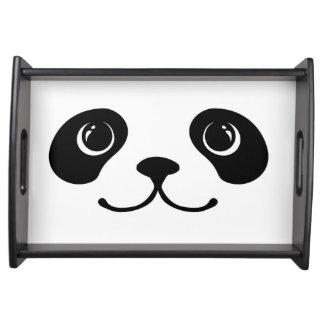 Black And White Panda Cute Animal Face Design Serving Tray
