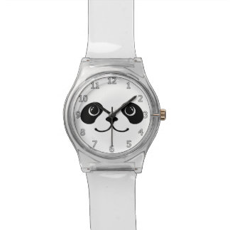 Black And White Panda Cute Animal Face Design Watch