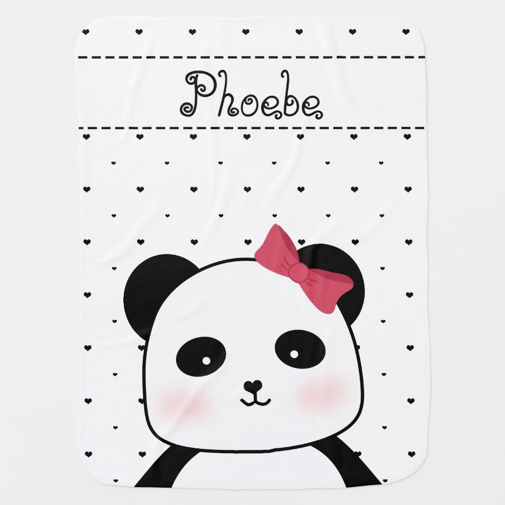 Black and White Panda Love Blanket