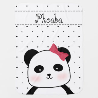 Black and White Panda Love baby girl's Baby Blanket