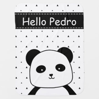 Black and White Panda Monochrome baby boy's Baby Blanket