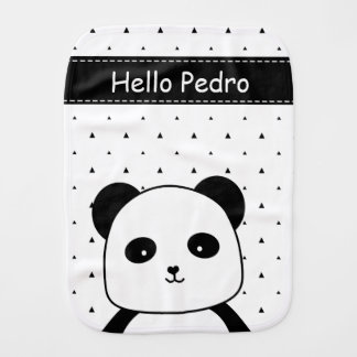 Black and White Panda Monochrome baby boy's Burp Cloth