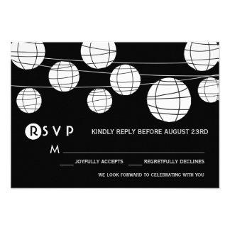 Black and White Paper Lanterns Wedding RSVP Card
