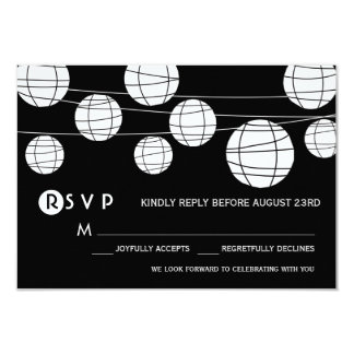 Black and White Paper Lanterns Wedding RSVP Card Personalized Invitations