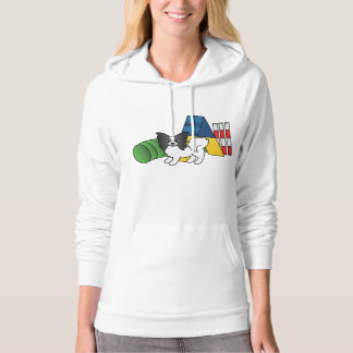 Black And White Papillon Agility Dog Hoodie
