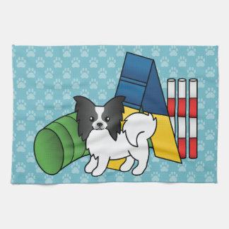 Black And White Papillon Agility Dog Tea Towel