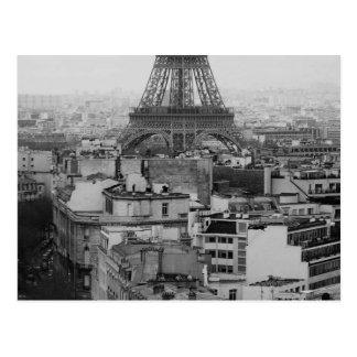 Black and White Paris Aerial view Postcard