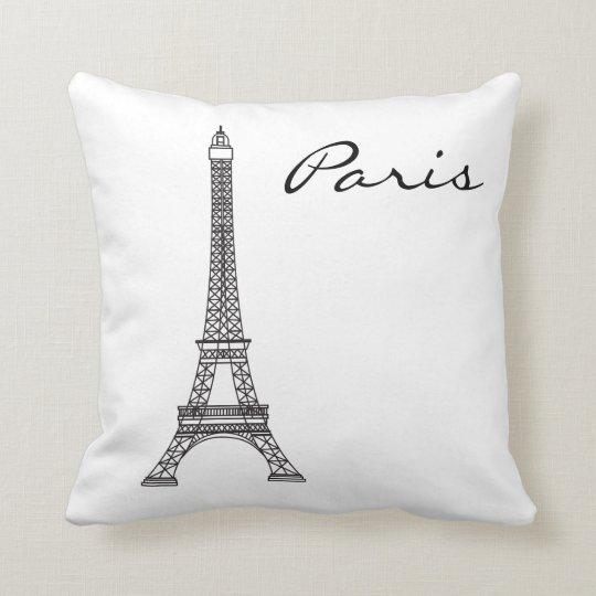 Black and White Paris Landmark Cushion