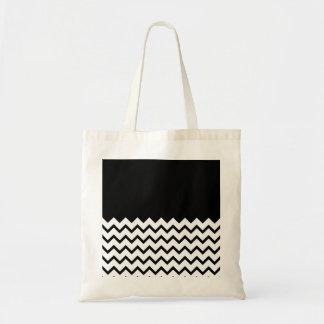 Black and White. Part Zig Zag, Part Plain Black. Budget Tote Bag