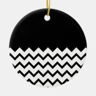 Black and White. Part Zig Zag, Part Plain Black. Round Ceramic Decoration