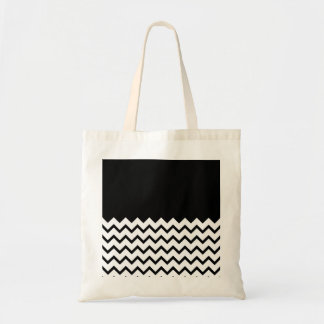 Black and White. Part Zig Zag, Part Plain Black. Tote Bag