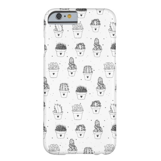 Black and white pattern cactus iPhone 6/6s Case