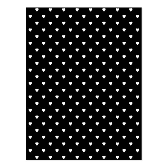 Black and White Pattern - Hearts. Postcard
