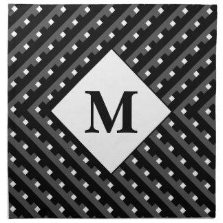 Black and White pattern Monogram Printed Napkin
