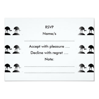 Black and White Pattern of Rhea Birds. 9 Cm X 13 Cm Invitation Card