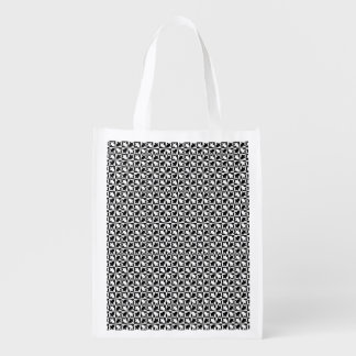 Black and white pattern reusable grocery bag