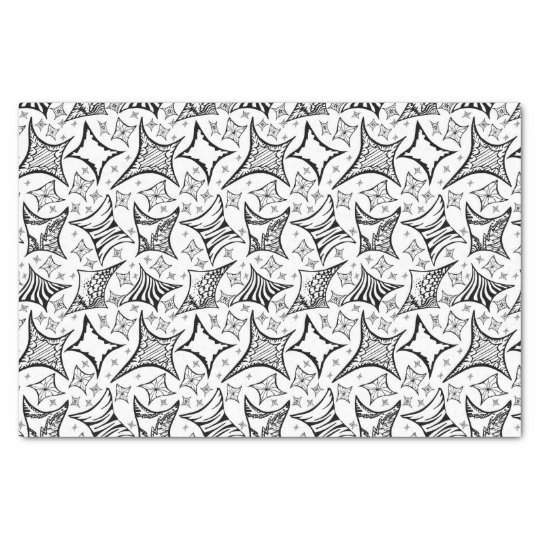 black-and-white pattern tissue paper