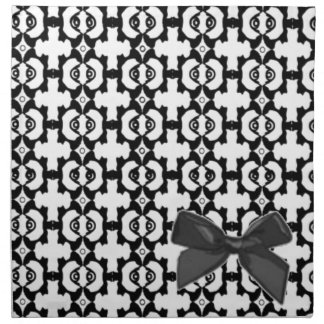 Black And White Pattern With Bow Napkin