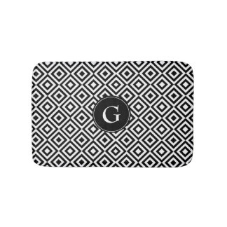 Black and White Pattern with Custom Monogram Bath Mat