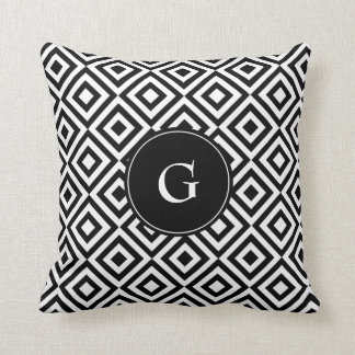 Black and White Pattern with Custom Monogram Cushion