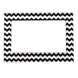 Black and white pattern zig zag stripes magnetic picture frame