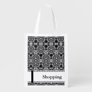 Black and white Patterned Reusable Shopping Bag