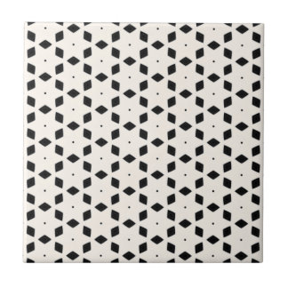 Black and White Patterns | Diamonds and Stars II Small Square Tile