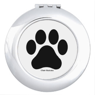 Black and White Paw Print Compact Mirror