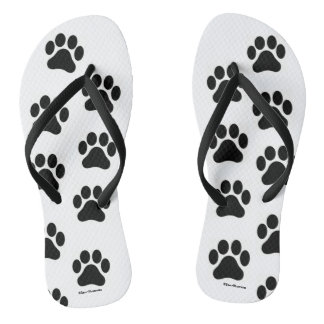 Black and White Paw Print Pattern Flip Flops