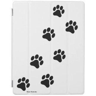 Black and White Paw Print Pattern iPad Cover