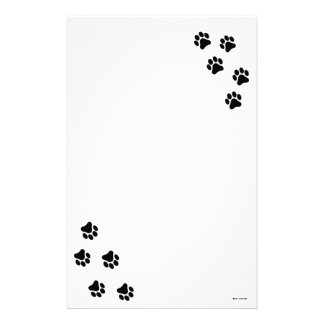 Black and White Paw Print Pattern Stationary Stationery