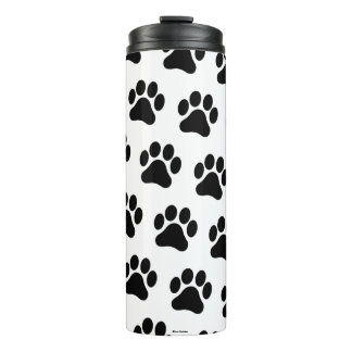 Black and White Paw Print Pattern Thermal Tumbler