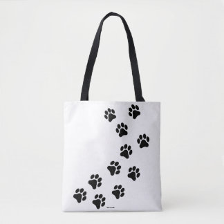 Black and White Paw Print Pattern Tote Bag