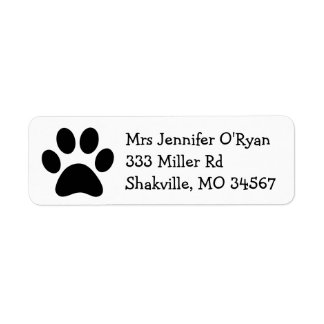 Black and White Paw Print Return Address Label
