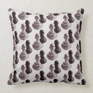 Black And White Pawns Pattern Chess Cushion