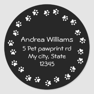 Black and white pawprint border address classic round sticker