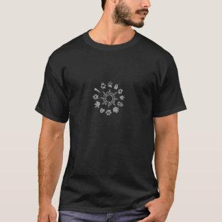 Black and white pawprint circle T-Shirt