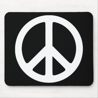 Black and White Peace Sign Mouse Mat