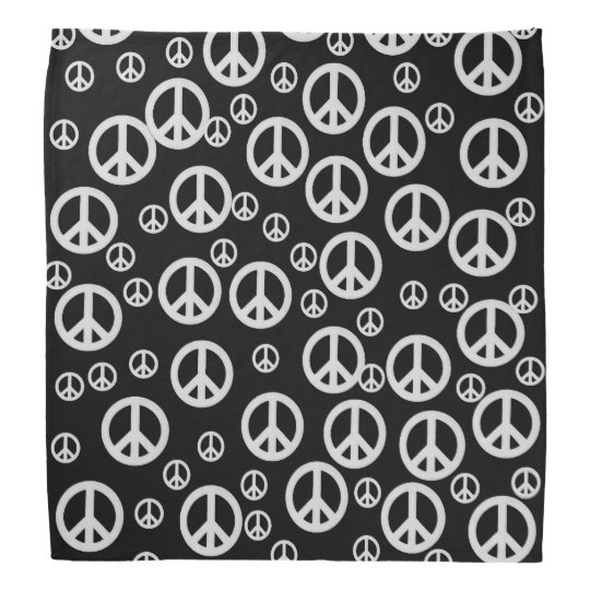 Black and White Peace Signs Bandanas