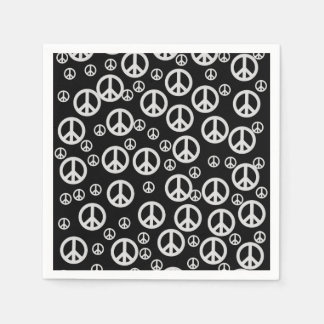 Black and White Peace Signs Disposable Serviette