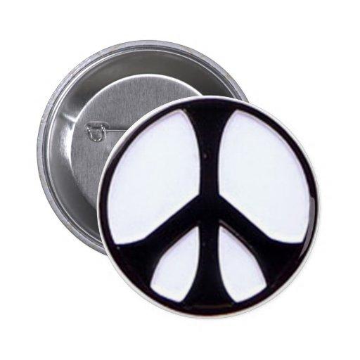 Black and White Peace Symbol 6 Cm Round Badge